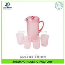Plastic Water Pitcher with 4 Cup Set BPA free plastic water jugs with flower design