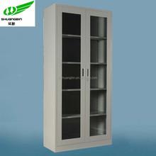 Seeing through glass door book /file storage knock down steel/metal cabinet