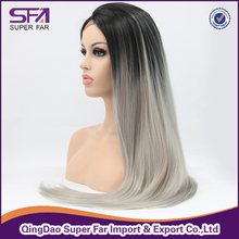 Ombre color natural hair wig, gray hair wig for men