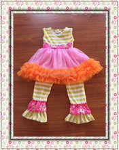 wholesale children's boutique kids clothing brand remake outfits girls party dress and stripe pants
