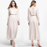 Women ladies V neck chiffon white long sleeve ankle length dresses