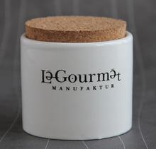 Ceramic salt jar with wooden lid