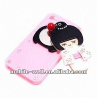protector Case for mobile phone iPhone 4G/4S , PC Bling Diamond Case with Mirror