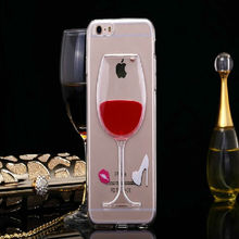 Clear TPU Moving Water Floating Tall Red Wine Beer Mug Whisky Bottle Mobile Phone Case Cover For iPhone 6/ Plus