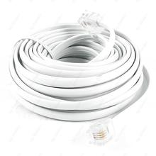 White RJ11 6P4C Modular Telephone Extenstion Lead Cable 6M 20ft