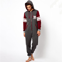PA0026A custom adult onesie 100 cotton jumpsuits with hood