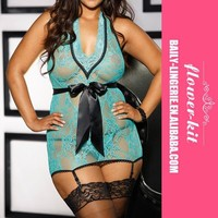 2015 Hot Sale Light green Halter Ribbon Bow Plus Size Lingerie Babydoll, Pajamas For Women XL2XL3XL