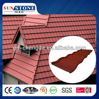soft deco purple color stone chip coated metal resin roof tile