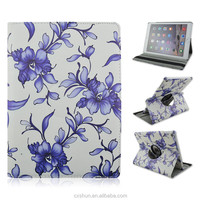 The Pretty Blue Flowers Pattern PU Leather Flip Stand Tablet Covers Case For iPad Air 2 with Elastic Belt