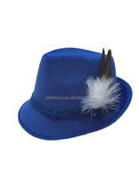 HOT wholesale Beauty oktoberfest traditional bavarian german felt hat dark blue with feather BHAT-1655