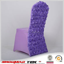 chinese chair cover wedding ruffled rosetter purple for party