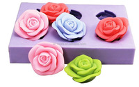 6 rose 3d flower fondant silicone mold for sugar paste