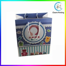 Top Quality Custom Logo Printed Paper Bag Rope Handle, Cotton Rope Handle Paper Shopping Bag