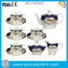 High quality porcelain classic birth painted drinkware gold trim chinese tea set