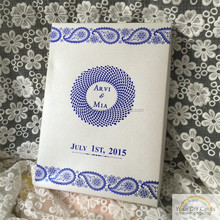custom royal blue silk wedding invitations box with ribbon