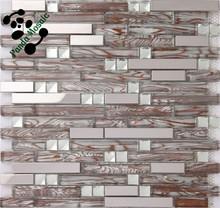 MB SMJ02 Living Room Backsplash Wholesale Strip Stainless Steel Mosaic Mix Glass Mosaic Decor Tile