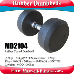 weight lifting fitness equipment rubber coated dumbbell