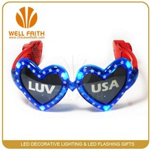 LED USA sunglasses with led flashing light,Heart shaped fancy party glasses