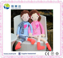 Creative design two plush doll lover with a love heart