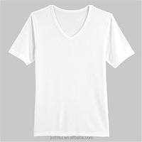 Men 100% cotton plain white v shape t shirt