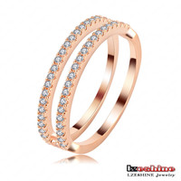 2pcs sets Thin Stackable Rose Gold Ring Fashion Women Austrian Crystal Ring Wholesale Bijoux CRI0119