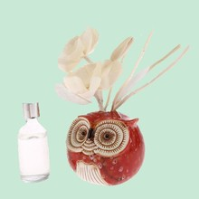 Ceramic Red Owl Perfume Flower Reed Diffuser, Air cleaner Zen Room Home