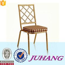 Wholesale Strong Metal Gold fabric seat high back catering restaurant dining chair