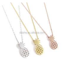 fashion women plain 925 sterling silver cheap no stone fruit pineapple necklace