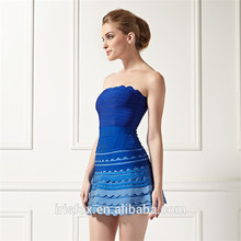 sexy de encaje azul sin tirantes vendaje vestidos de ropa de fiesta