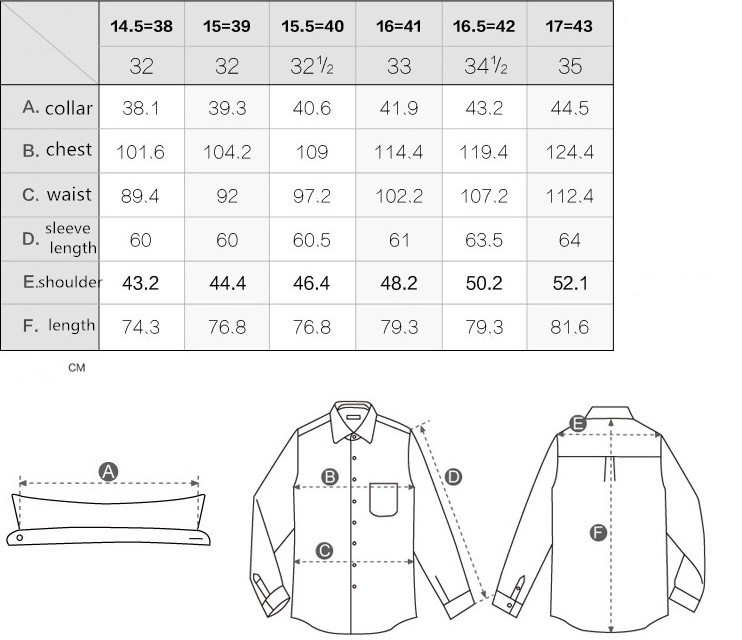 Mens Dress Shirt Size Chart Mens Dress Shirt And Pants