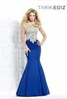 Tarik ediz 92328 evening dress 2015 elegant royal blue beaded high neck women formal wear mermaid evening dress turkey