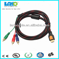 high quality gold plated 1m custom male to male hdmi to 5.1 rca cable