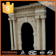 PFM Hot Sell Natural Quality White Marble Stone Fireplace Mantel/Western / European Customized Figure / Hand Carving Sculptured