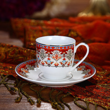110CC Luxury Fine White Porcelain Ceramic Espresso Cups and Saucers