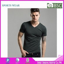 2015 Custom Collar Design Man V-Neck Tshirts Blank Designer Tshirts With Pocket Wholesale
