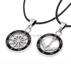 cheap bulk round boat anchor stainless steel pendant couple necklace