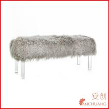 Tibetan Lamb Fur Bench with acrylic legs