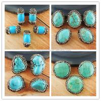 CH-MAB0096 fashion jewelry stone bead with crystal,semi precious gemstone loose bead wholesale pave rhinestone,turquoise bead