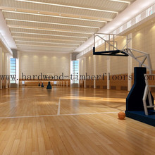Indoor maplewood floor for basketball court