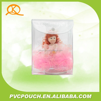 Single transparent plastic button closure pvc pouch for cosmetic