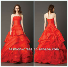 Beautiful Strapless A-Line Tulle Red Wedding Dresses For Sale