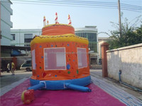 celebration colorful party Inflatable birthday cake bouncer / kids Inflatable Jumper bouncy castle