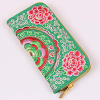 Flower embroidered wallet ethnic souvenir wallet with canvas fabric