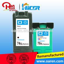 Para HP 74XL / 75XL cartucho de tinta para HP 74 75 impressora jato de tinta