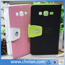 High quality wallet flip leather case for samsung galaxy grand duos i9082 with tpu inside