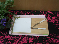 2015 newest product ceramic and bamboo pizza cutting board with knives and forks