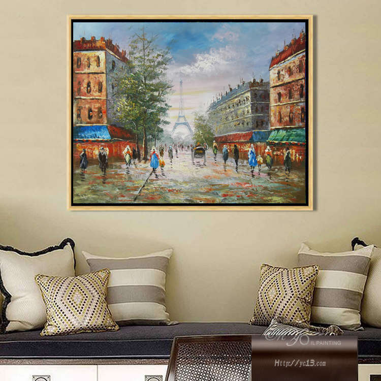 Parijs straat landschap handgeschilderde Muur Foto schilderij voor ...