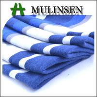 Mulinsen Textile Knitting Polyester Printed Stretch Poly Spun Blue White Striped Fabric