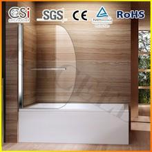Round Bath Shower Glass Screen 180 Pivot Radius New Design with Towel Rail EX-223