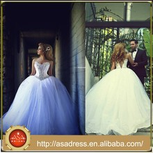 Sexy Plus Size Lace Bridal Dress Crystal Belt Fashion Ball Gown Wedding dresses(WDRO-1020)